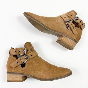Dolce Vita Tove Double Buckle Ankle Boots Tan